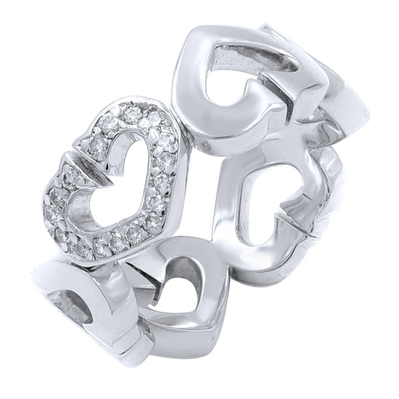 580754be52f92 Cartier 18K White Gold C Heart Diamond Ring 4.75
